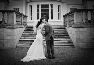Seaham Hall Wedding Bride & Groom Kissing Portrait with North East Photographer Jan Secker Photographic Middlesbrough